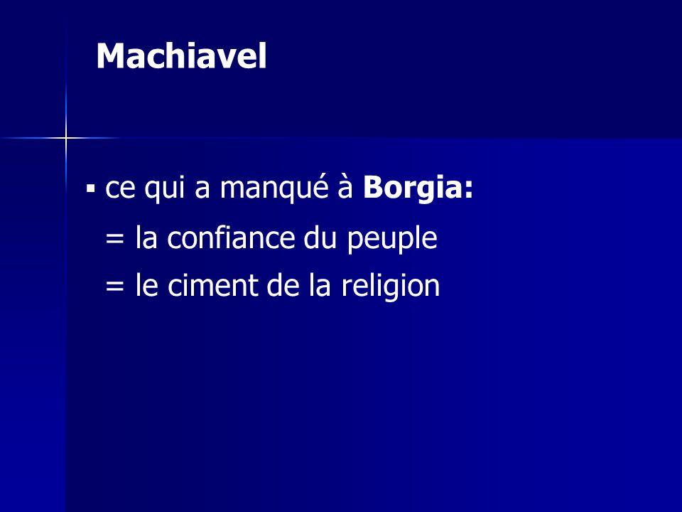 Machiavel = la confiance du peuple = le ciment de la religion