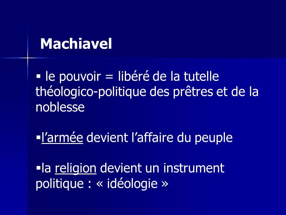Machiavel le pouvoir = libéré de la tutelle théologico-politique des prêtres et de la noblesse. l'armée devient l'affaire du peuple.