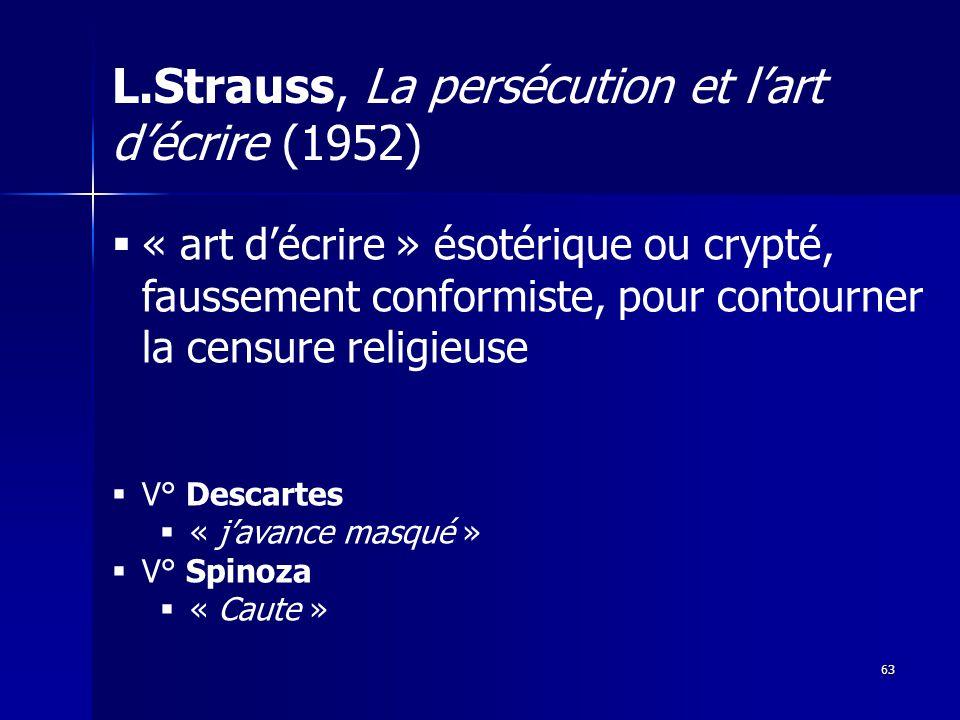 L.Strauss, La persécution et l'art d'écrire (1952)