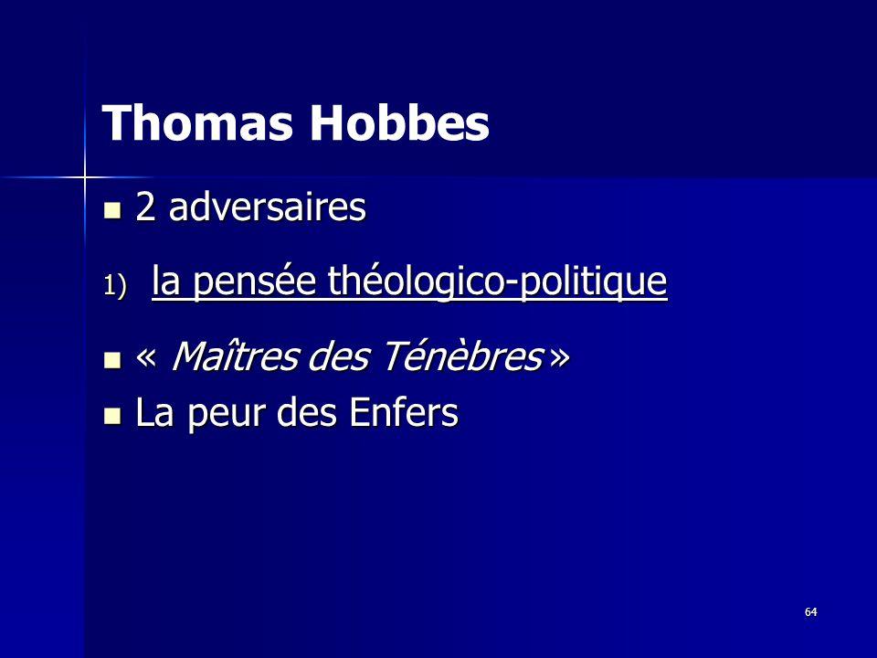 Thomas Hobbes 2 adversaires la pensée théologico-politique
