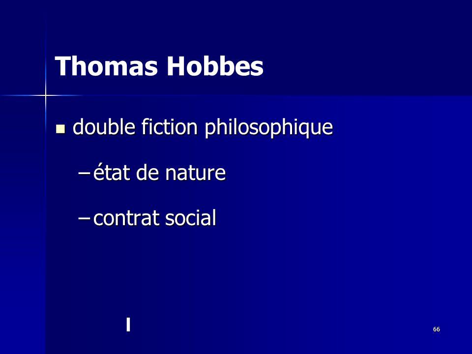 Thomas Hobbes double fiction philosophique état de nature