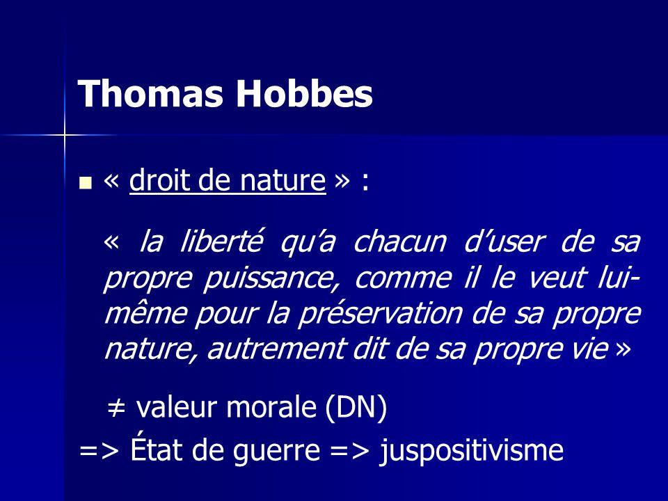 Thomas Hobbes « droit de nature » :