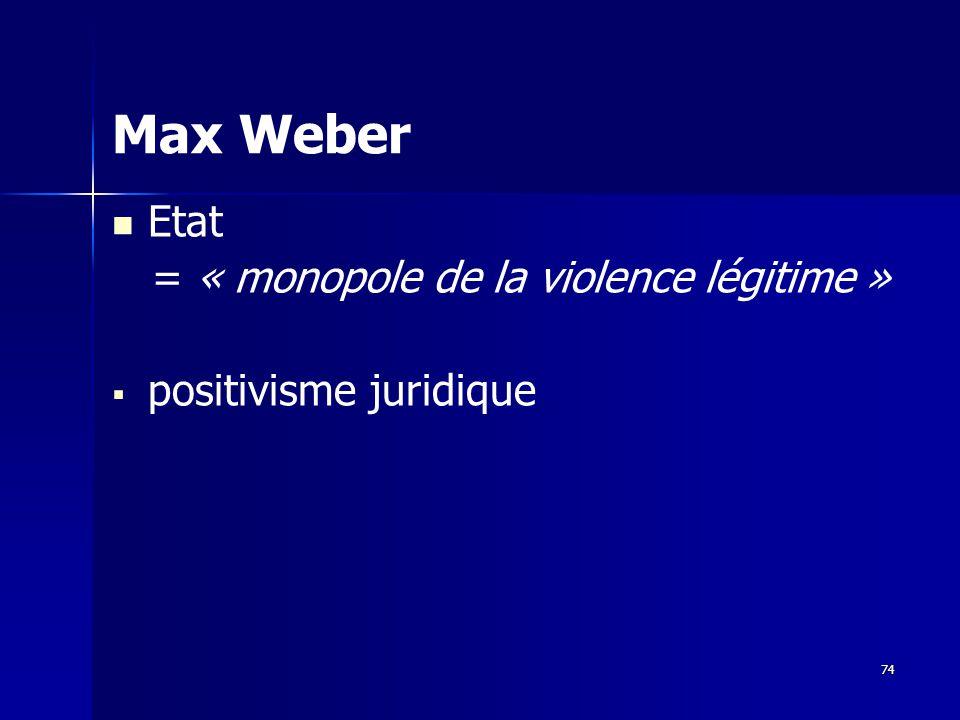Max Weber Etat = « monopole de la violence légitime »
