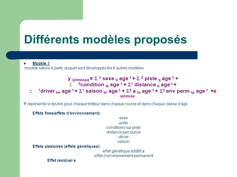 Différents modèles proposés