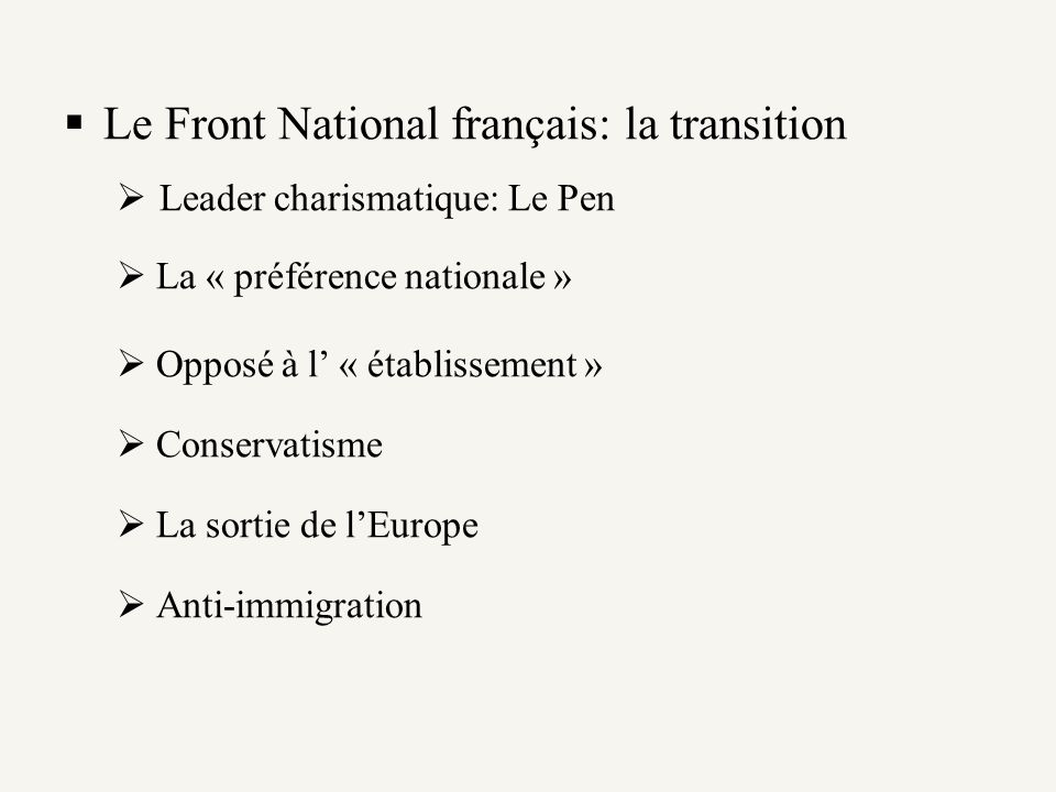 Le Front National français: la transition