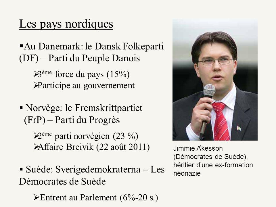 Les pays nordiques Au Danemark: le Dansk Folkeparti (DF) – Parti du Peuple Danois. 3ème force du pays (15%)