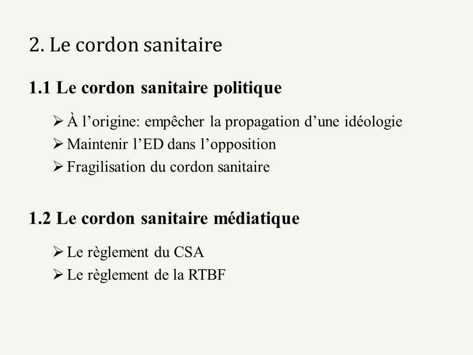 2. Le cordon sanitaire 1.1 Le cordon sanitaire politique