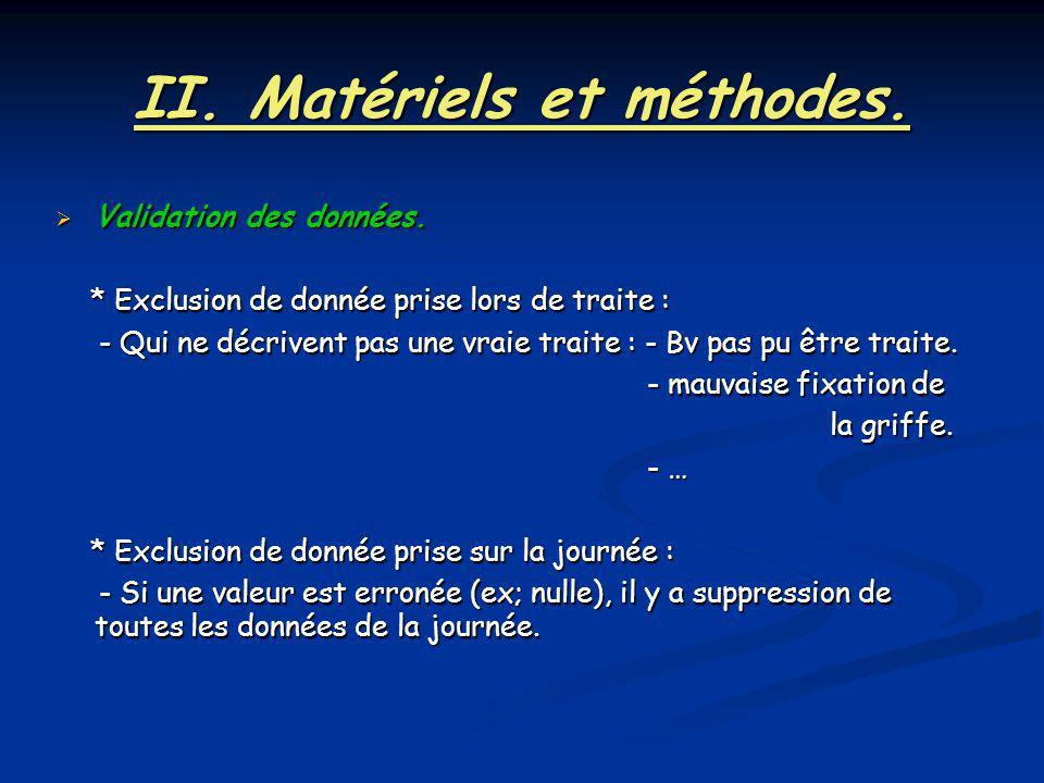II. Matériels et méthodes.