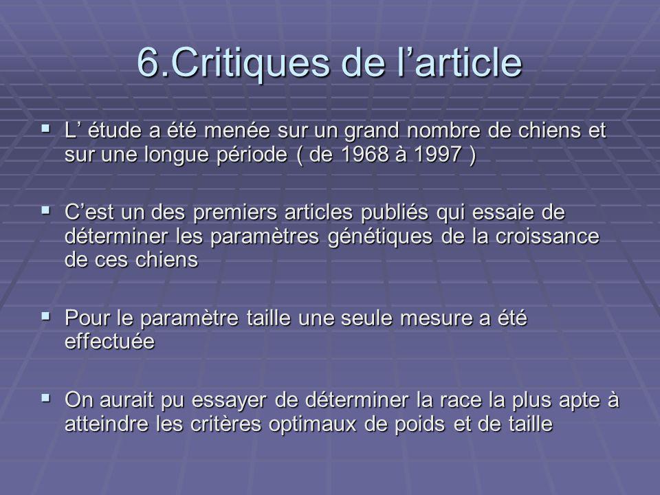 6.Critiques de l'article