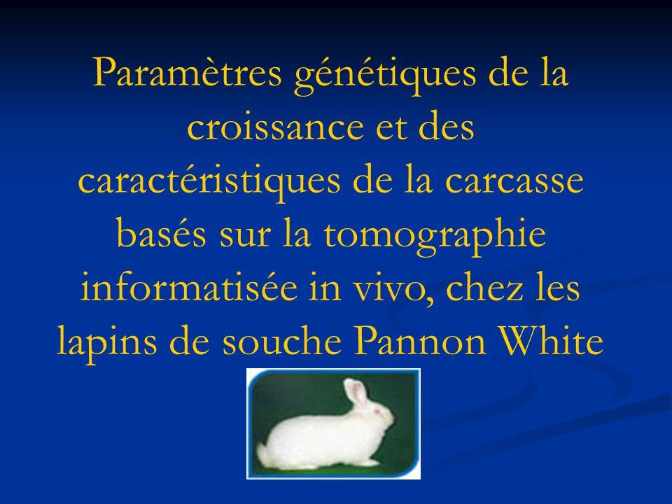 Paramètres génétiques de la croissance et des caractéristiques de la carcasse basés sur la tomographie informatisée in vivo, chez les lapins de souche Pannon White
