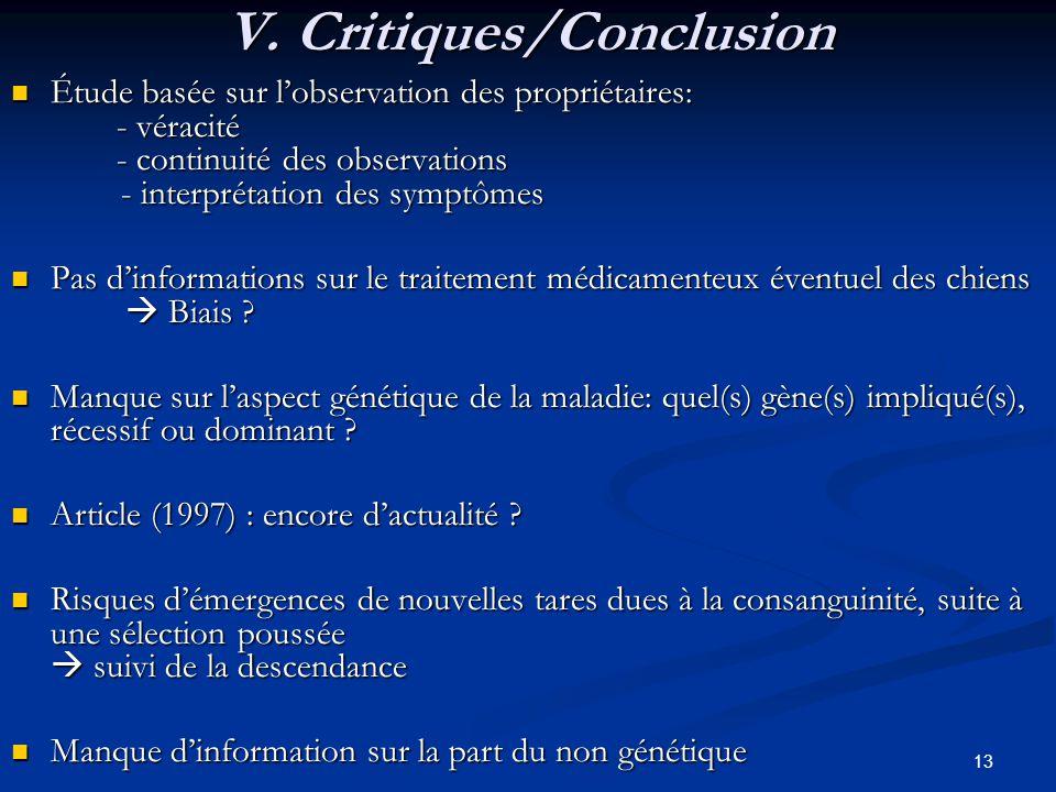 V. Critiques/Conclusion