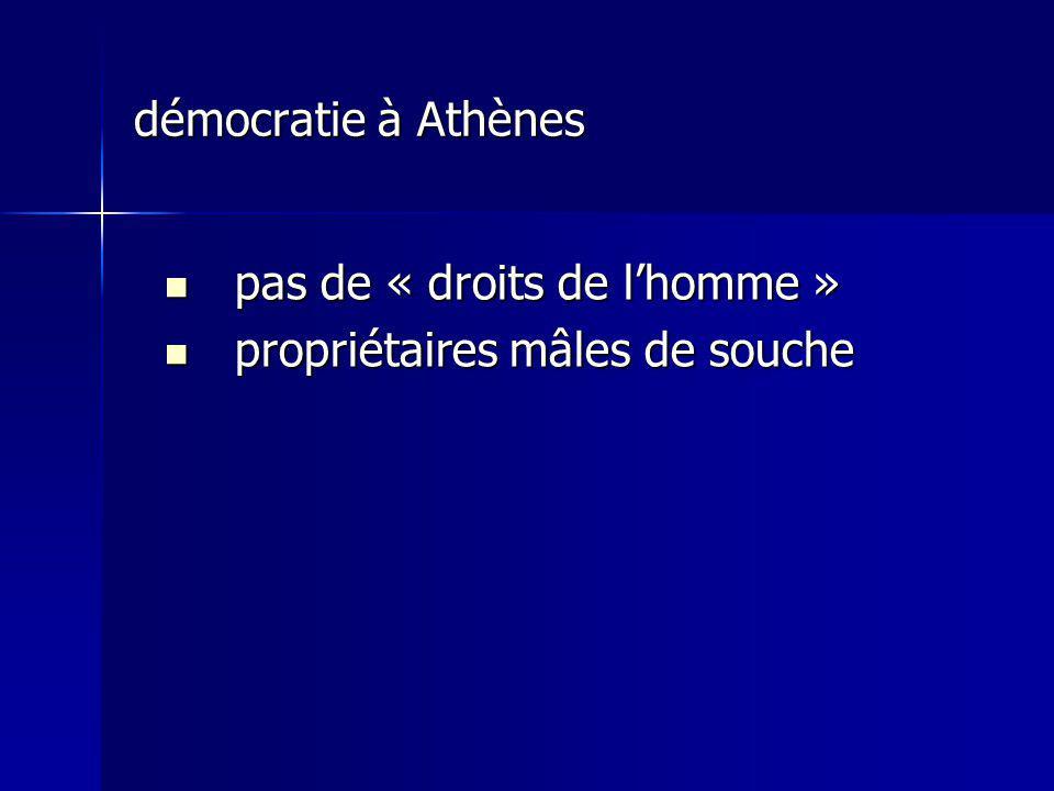 démocratie à Athènes pas de « droits de l'homme » propriétaires mâles de souche