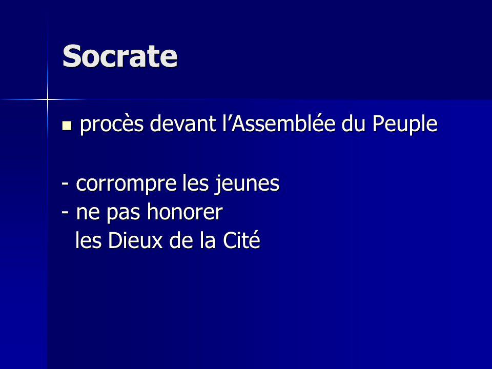 Socrate procès devant l'Assemblée du Peuple - corrompre les jeunes
