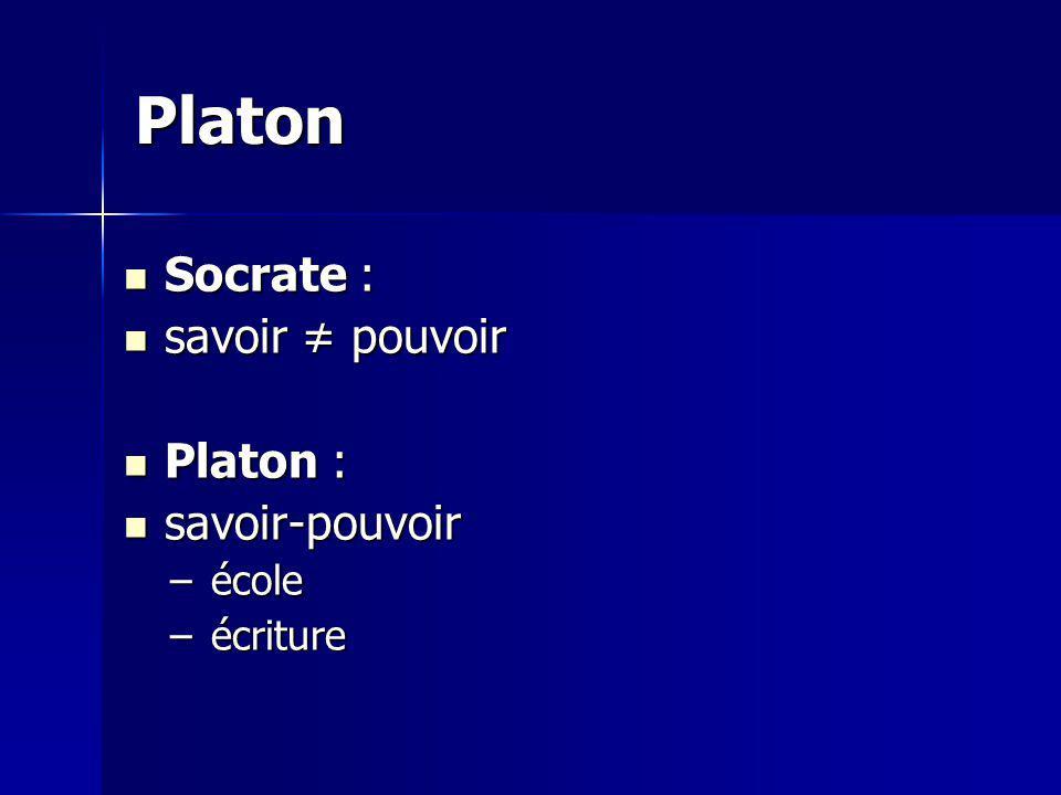 Platon Socrate : savoir ≠ pouvoir Platon : savoir-pouvoir école