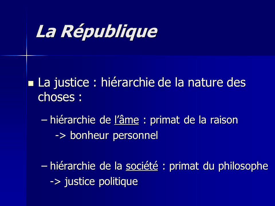 La République La justice : hiérarchie de la nature des choses :