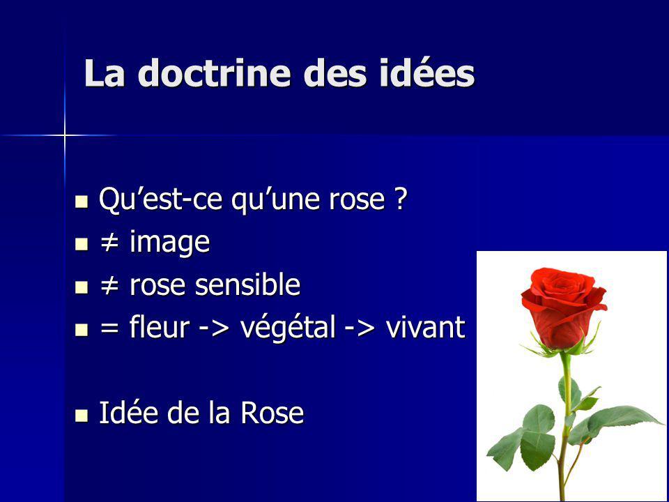 La doctrine des idées Qu'est-ce qu'une rose ≠ image ≠ rose sensible
