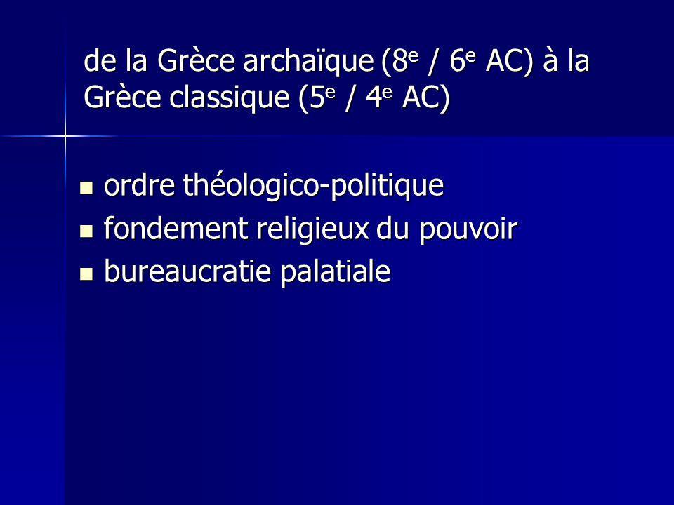 de la Grèce archaïque (8e / 6e AC) à la Grèce classique (5e / 4e AC)