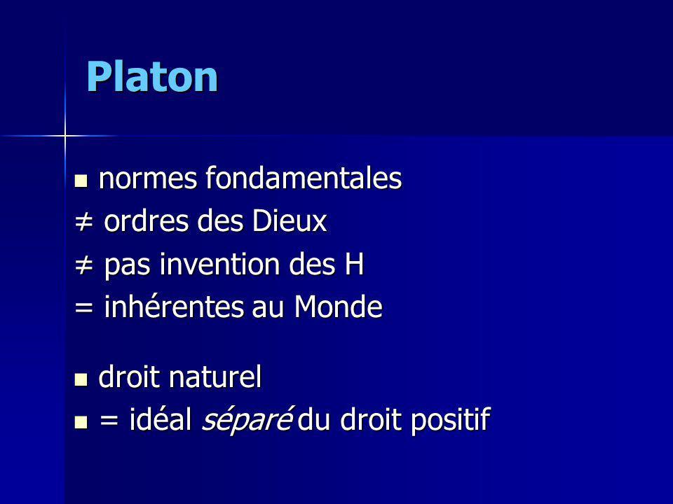 Platon normes fondamentales ≠ ordres des Dieux ≠ pas invention des H