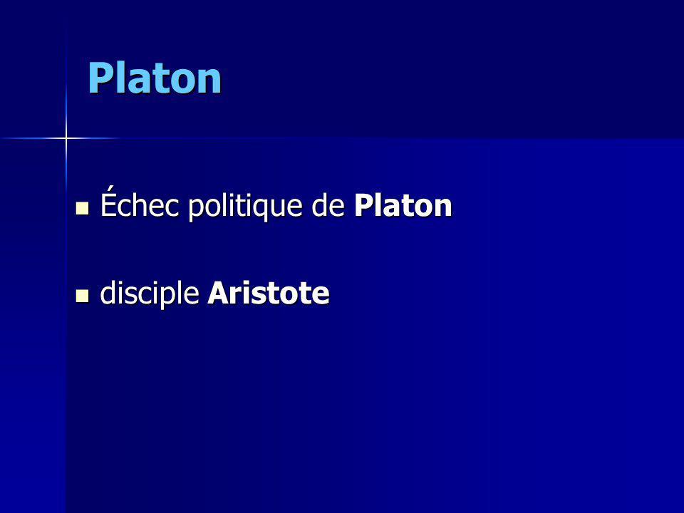 Platon Échec politique de Platon disciple Aristote