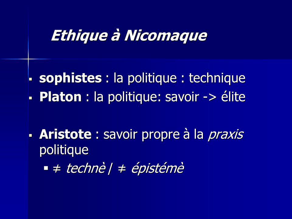 Ethique à Nicomaque sophistes : la politique : technique