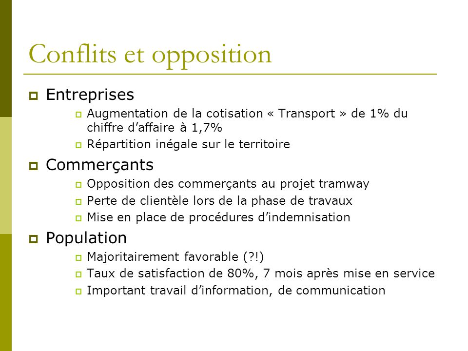 Conflits et opposition