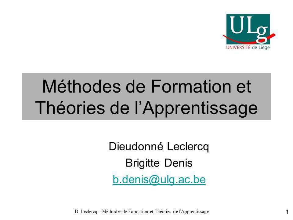 Méthodes de Formation et Théories de l'Apprentissage