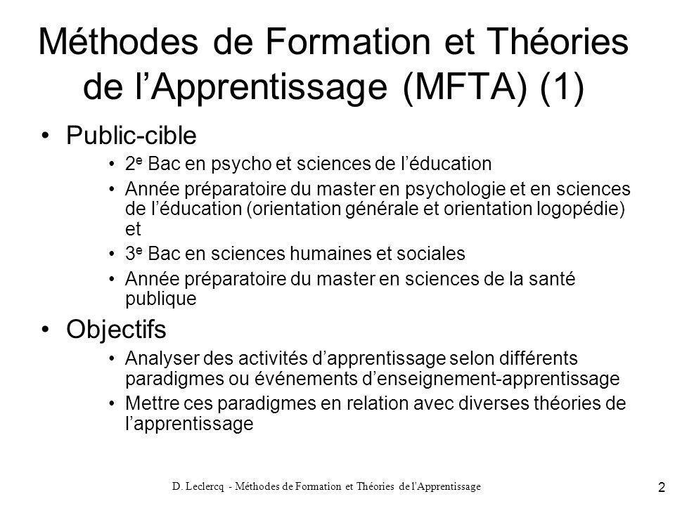 Méthodes de Formation et Théories de l'Apprentissage (MFTA) (1)