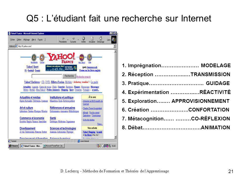 Q5 : L'étudiant fait une recherche sur Internet