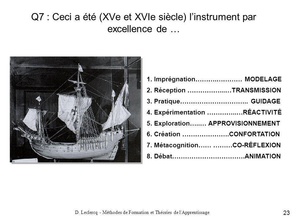 Q7 : Ceci a été (XVe et XVIe siècle) l'instrument par excellence de …