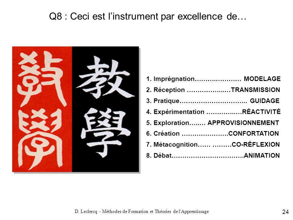 Q8 : Ceci est l'instrument par excellence de…
