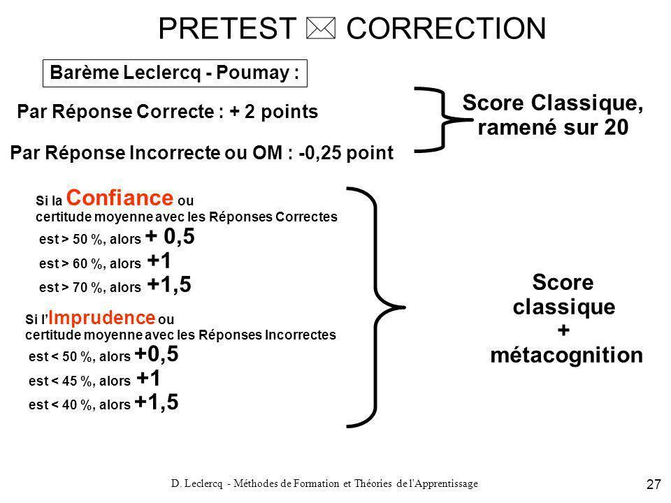 PRETEST  CORRECTION Score Classique, ramené sur 20 Score classique +