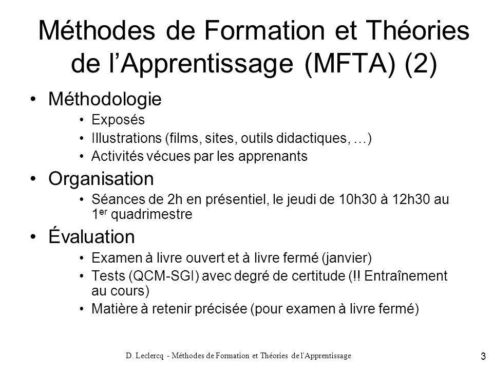 Méthodes de Formation et Théories de l'Apprentissage (MFTA) (2)