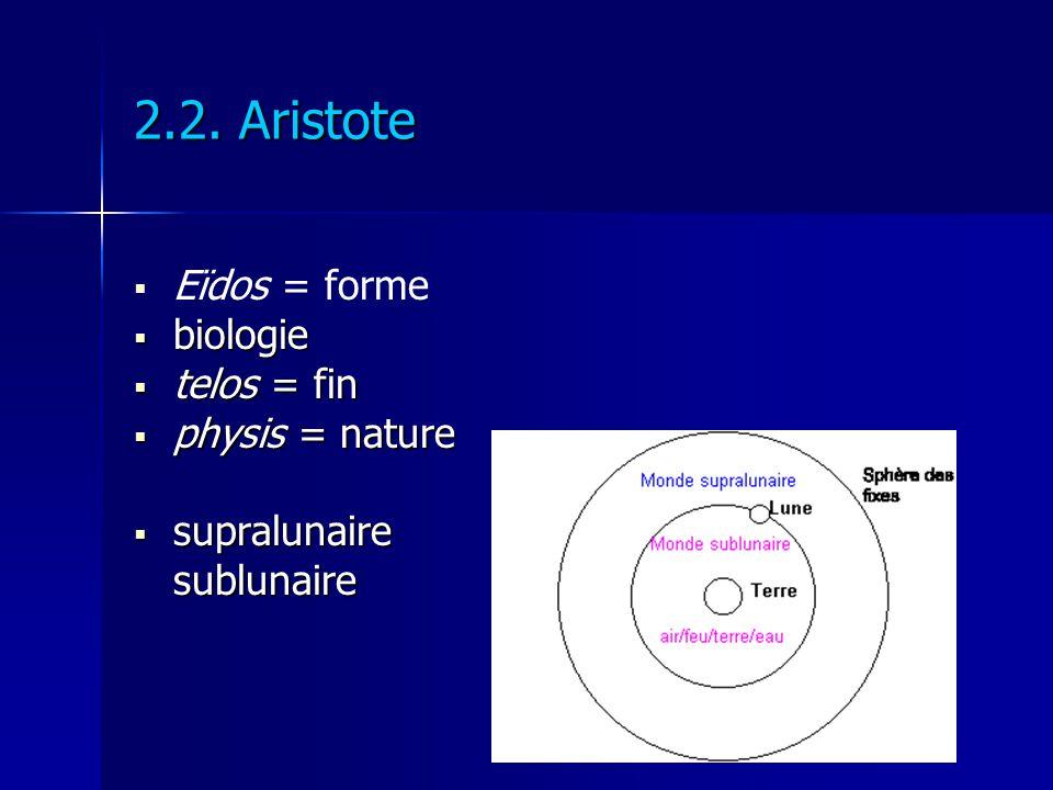 2.2. Aristote Eïdos = forme biologie telos = fin physis = nature