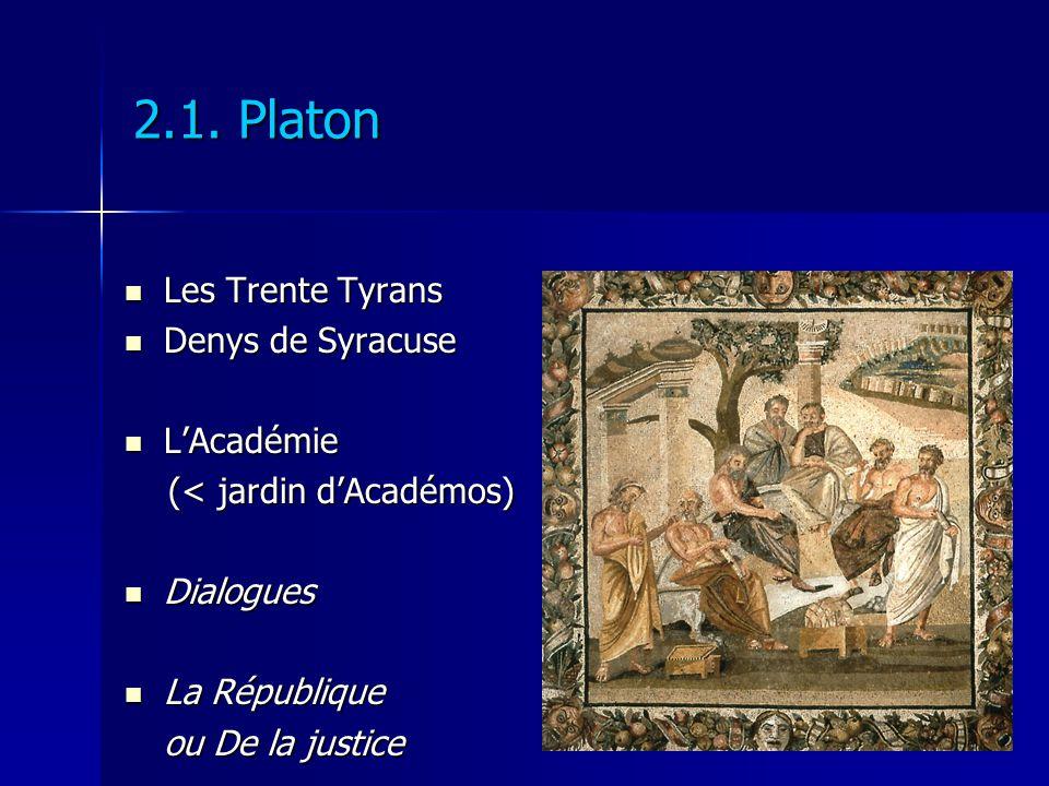 2.1. Platon Les Trente Tyrans Denys de Syracuse L'Académie