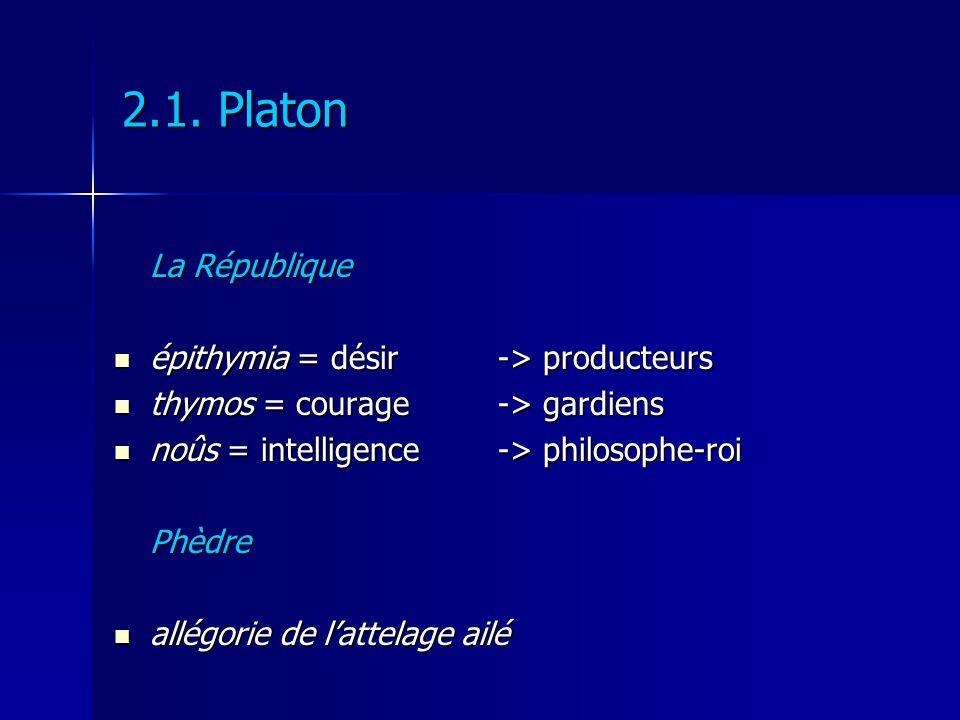 2.1. Platon La République épithymia = désir -> producteurs