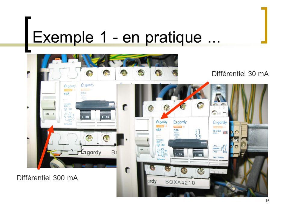 Exemple 1 - en pratique ... Différentiel 30 mA Différentiel 300 mA