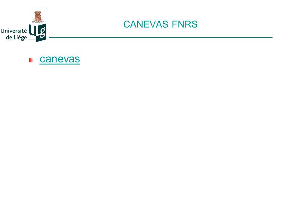 CANEVAS FNRS canevas