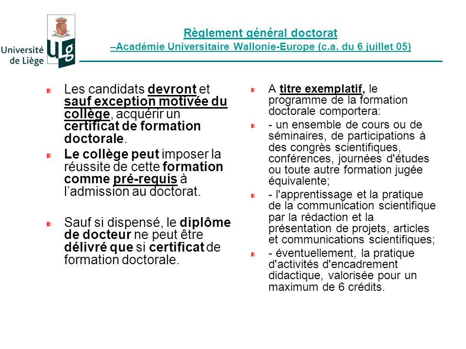 Règlement général doctorat –Académie Universitaire Wallonie-Europe (c