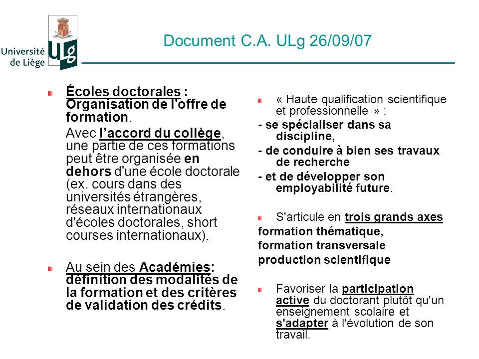 Document C.A. ULg 26/09/07 Écoles doctorales : Organisation de l offre de formation.