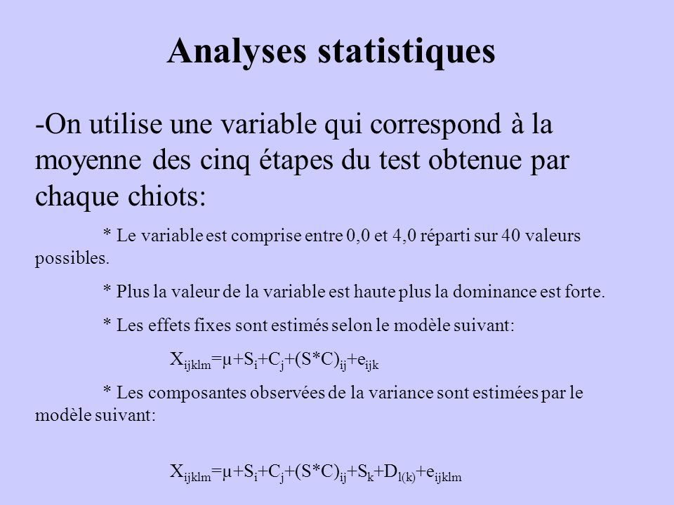 Analyses statistiques