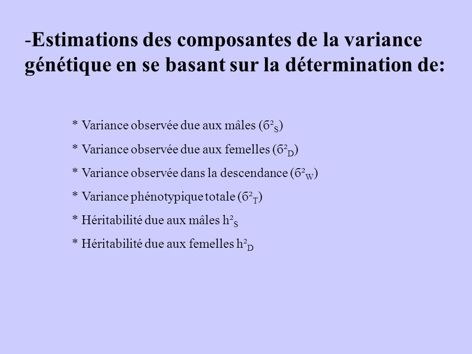Estimations des composantes de la variance génétique en se basant sur la détermination de: