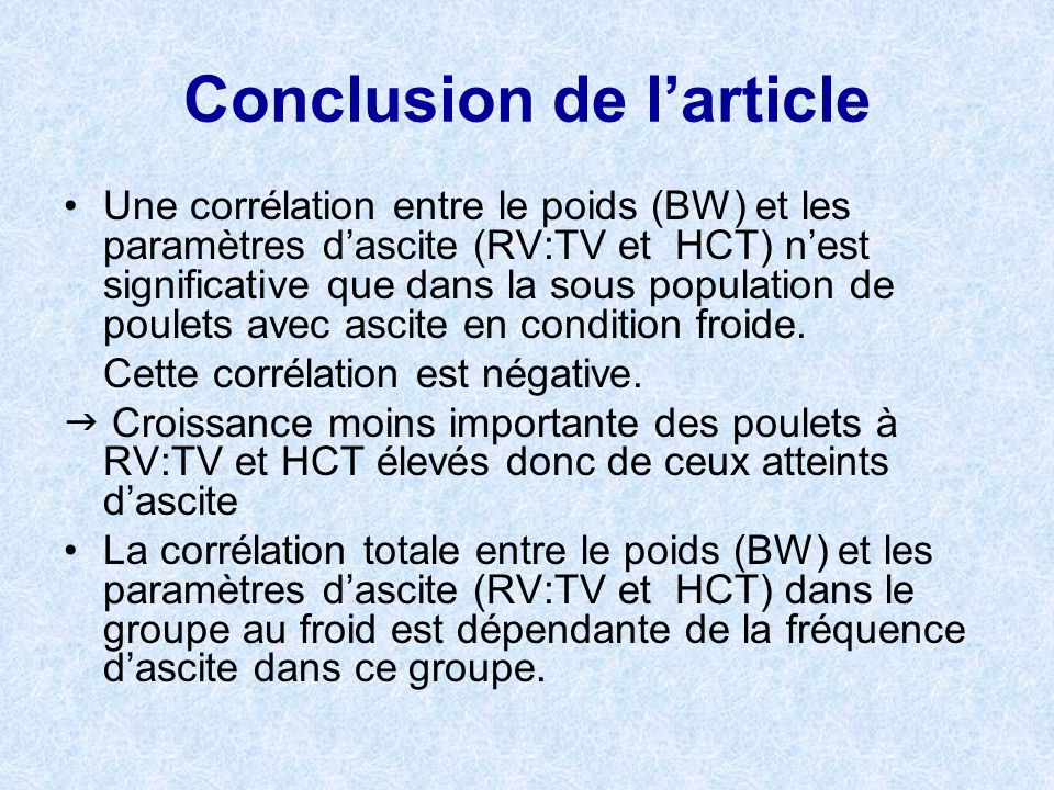 Conclusion de l'article