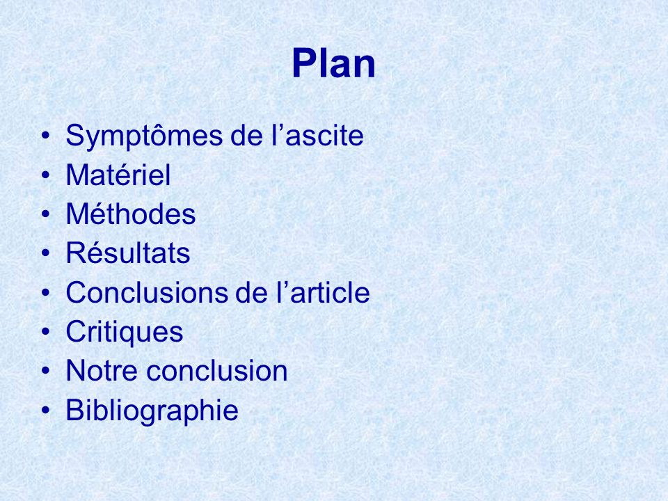 Plan Symptômes de l'ascite Matériel Méthodes Résultats