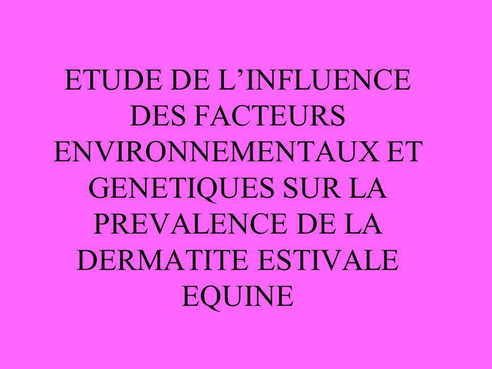 ETUDE DE L'INFLUENCE DES FACTEURS ENVIRONNEMENTAUX ET GENETIQUES SUR LA PREVALENCE DE LA DERMATITE ESTIVALE EQUINE