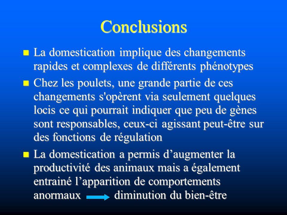 Conclusions La domestication implique des changements rapides et complexes de différents phénotypes.
