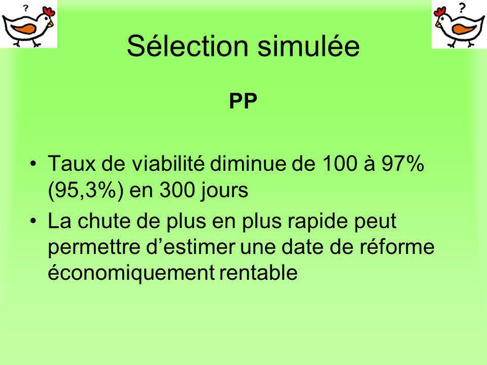 Sélection simulée PP. Taux de viabilité diminue de 100 à 97% (95,3%) en 300 jours.