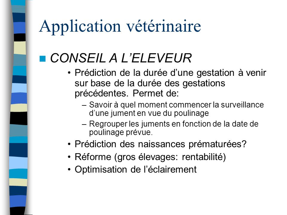 Application vétérinaire