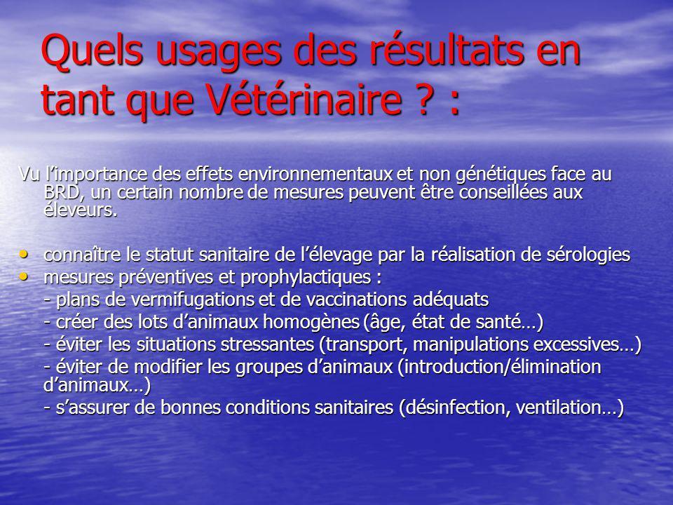 Quels usages des résultats en tant que Vétérinaire :
