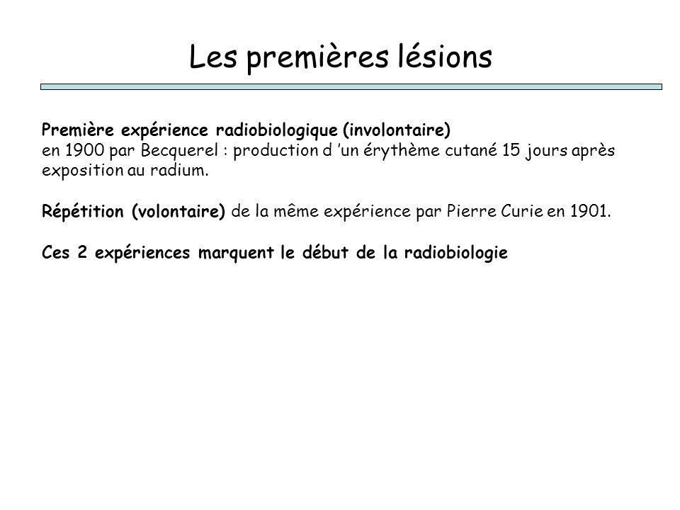 Les premières lésions Première expérience radiobiologique (involontaire)