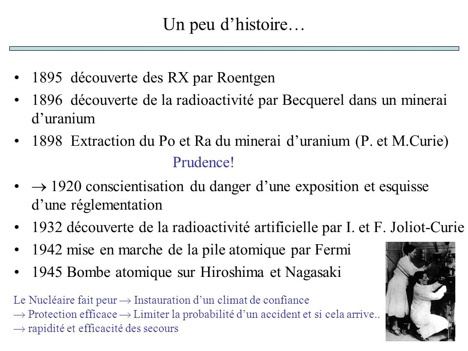 Un peu d'histoire… 1895 découverte des RX par Roentgen